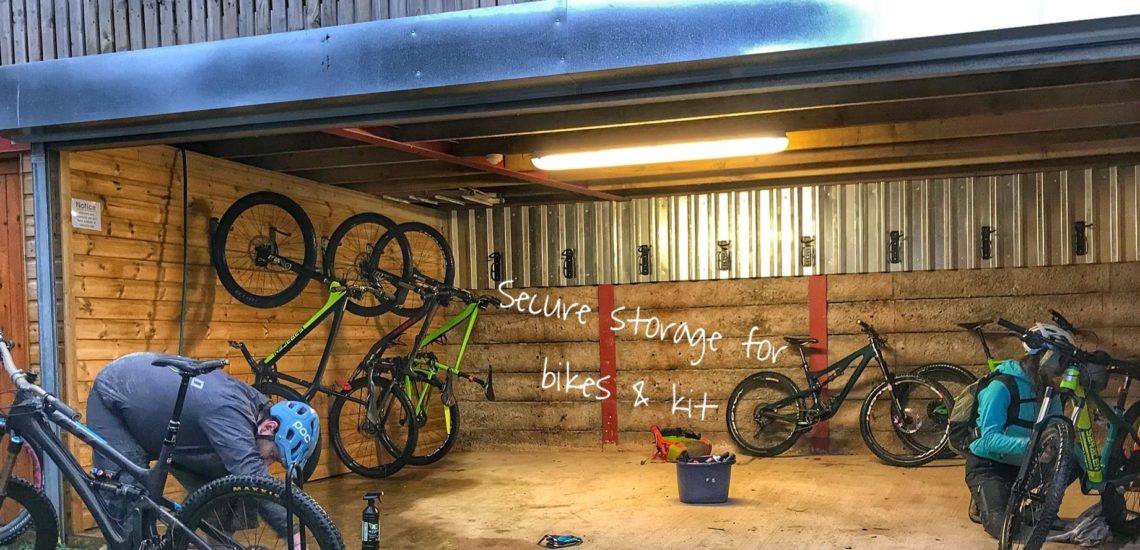 Secure bike storage at mid wales holiday lets, rhayader, cambrian mountains