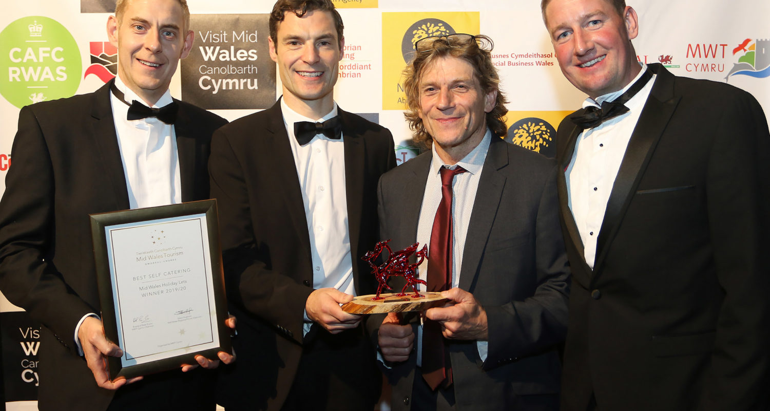 Mid Wales Tourism Awards 2019. Winners of the Best Self Catering, Mid Wales Holiday Lets, Rhayader.