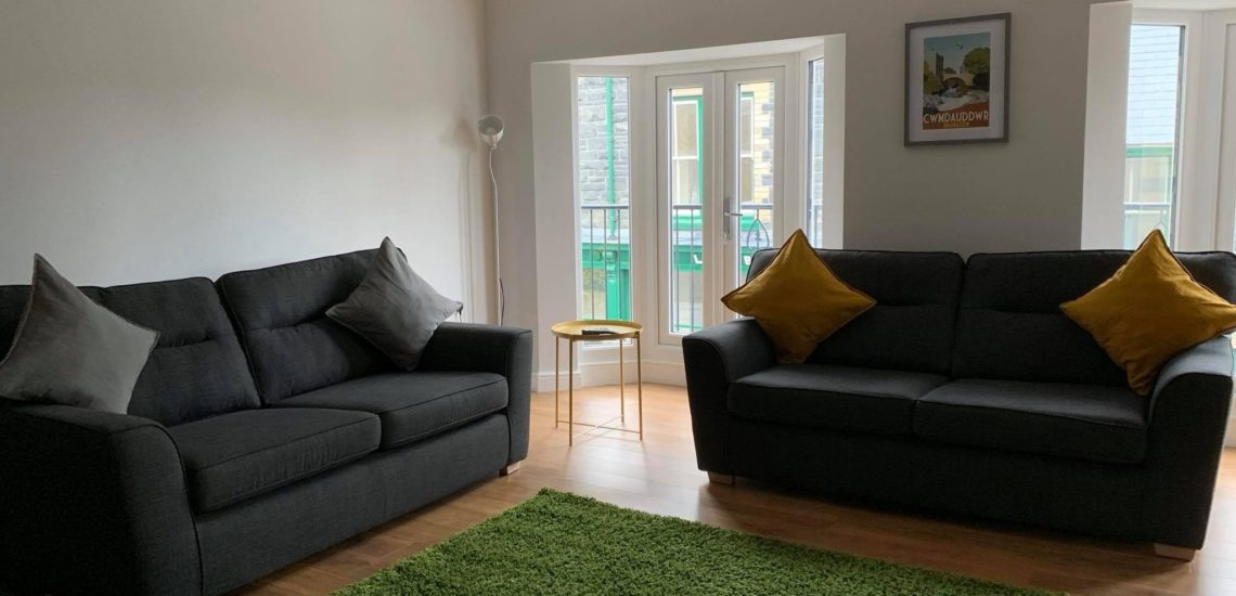 Glandwr House Living Room Mid Wales Holiday Lets, Group Accommodation. Staycations, Family breaks in Mid Wales near the Elan Valley in Rhayader
