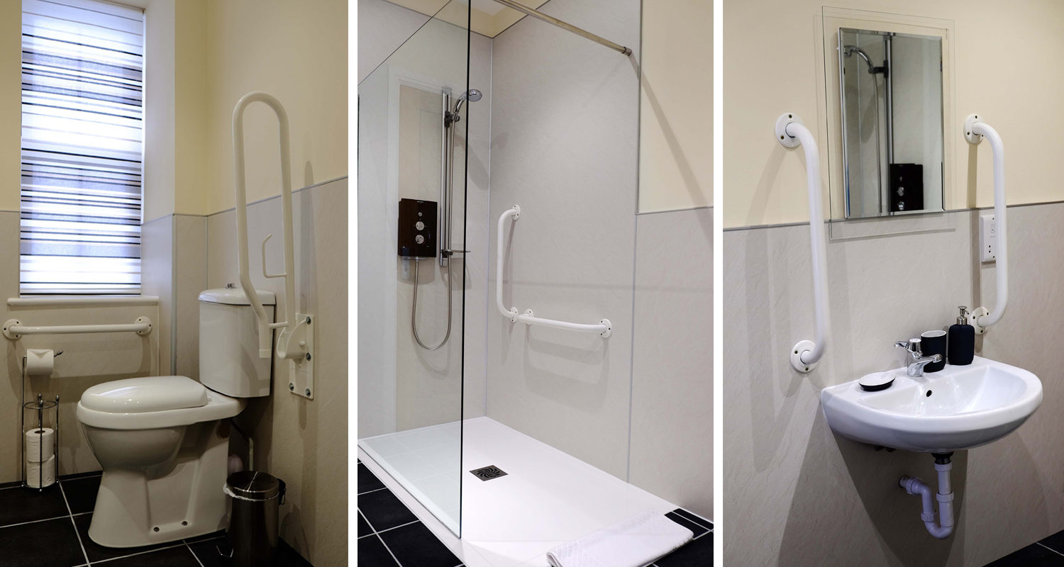 Accessible Shower room and toilet at The Old Drapers Mid Wales Holiday Lets Rhayader Elan Valley