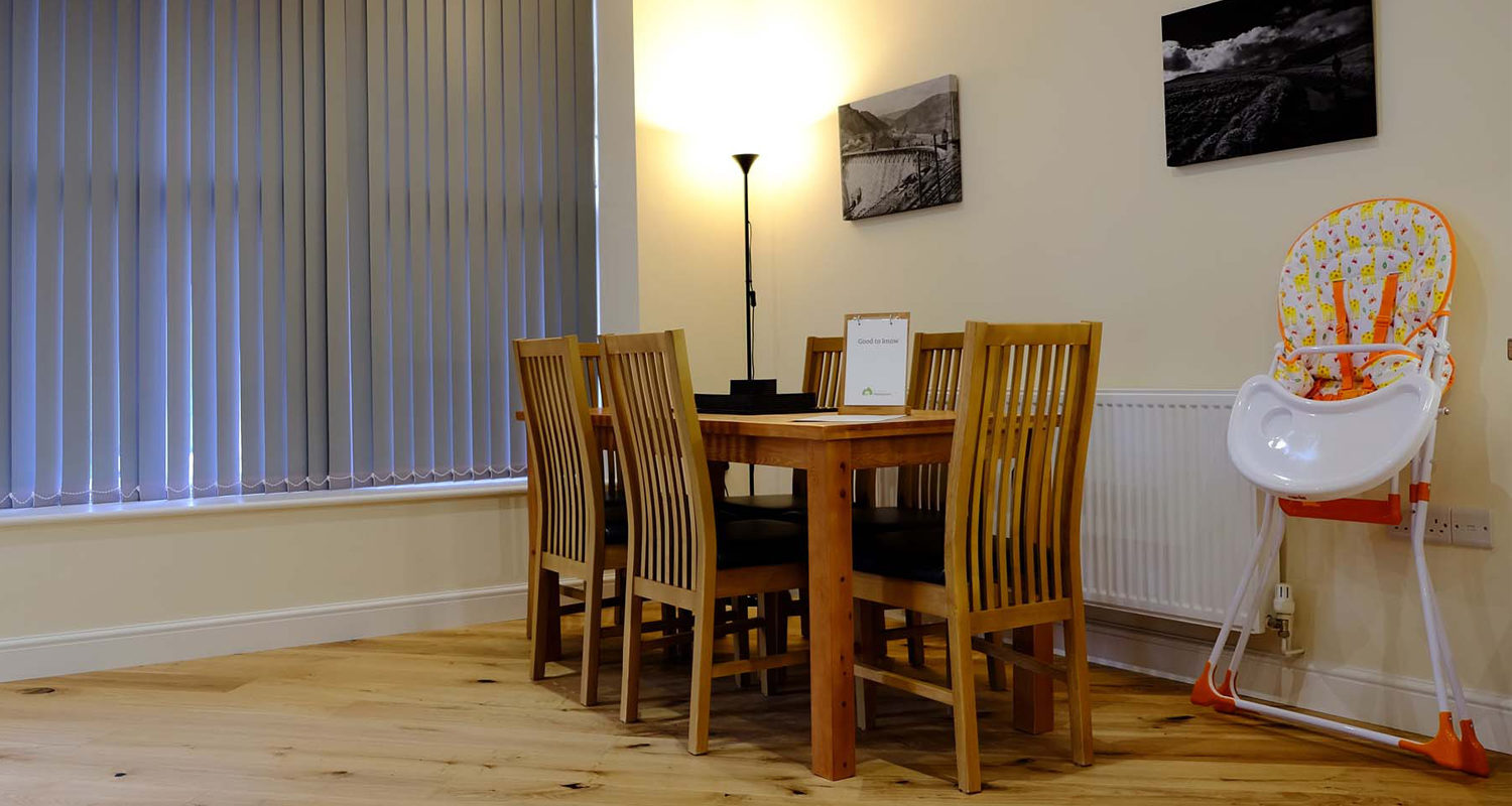 Dining area at The Old Drapers Mid Wales Holiday Lets Rhayader Elan Valley
