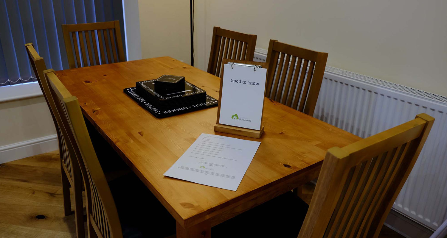 Dining room 6 seater table at The Old Drapers Mid Wales Holiday Lets Rhayader Elan Valley