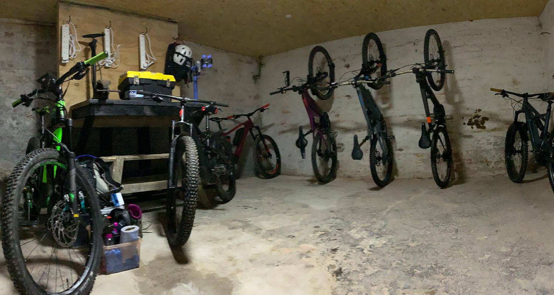 Internal Bike Store at Mid Wales Holiday Lets Rhayader, Elan Valley Mountainbiking