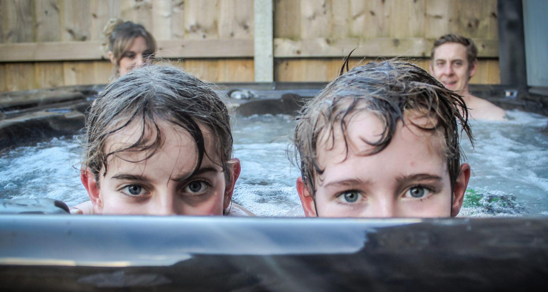 Peek a boo in the Hot tub at Glandwr House Mid Wales Holiday Lets Rhayader Elan Valley